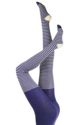 Ladies 1 Pair Elle Winter Soft Stripe Tights Lavender Field M/L
