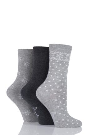 Ladies 3 Pair Pringle Sienna Plain and Snowflake Patterned Cotton Socks Grey 4-8 Ladies