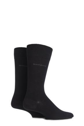 Mens 2 Pair Hugo Boss Plain 75% Cotton Socks Black 43-46