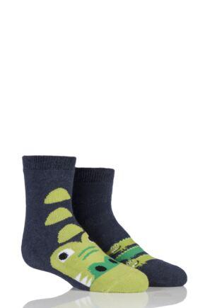 Babies 2 Pair Totes Tots Crocodile Slipper Socks