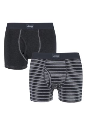 Mens 2 Pack Jeep Core Fine Stripe Trunks Charcoal / Mid Grey Small