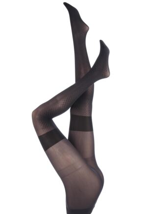 Ladies 1 Pair Levante Lorenza Illusion Mock Suspender Tights 75% OFF Anthracite M