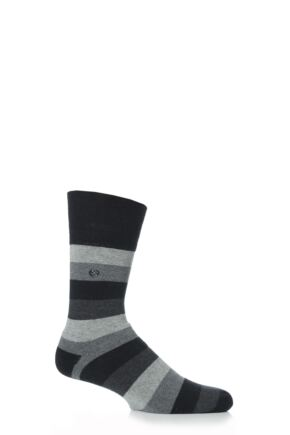 Mens 1 Pair Gentle Grip Cushioned Foot Black Bold Stripe Socks