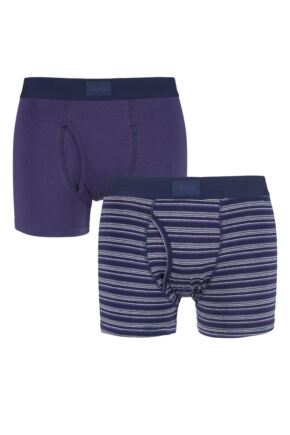 Mens 2 Pack Jeep Core Multi Stripe Trunks Purple / Grey Small