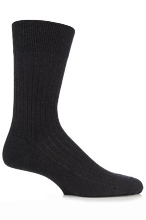 Mens 1 Pair Falke Bristol Pure Merino Wool Business Socks Anthracite Melange 41-42
