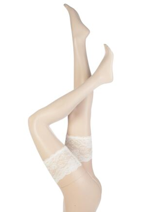 Ladies 1 Pair Trasparenze Athena Ultra Sheer Bridal Hold Ups White Medium