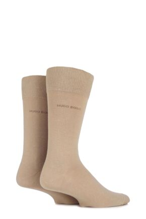 Mens 2 Pair BOSS Plain 75% Cotton Socks Medium Beige 39-42