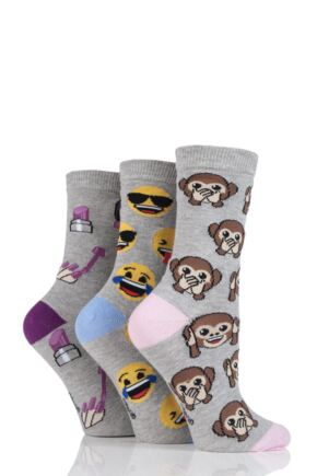 SockShop Emoji Monkey, Face and Lipstick Cotton Socks Grey 4-8 Ladies