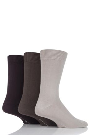 Mens 3 Pair Glenmuir Classic Bamboo Plain Socks Beige