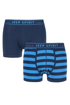 Mens 2 Pack Jeep Spirit Wide Stripe and Plain Cotton Rich Trunks