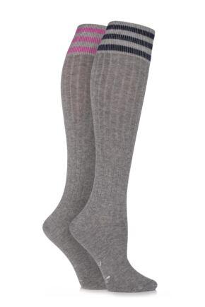Ladies 2 Pair Pringle New Emma Sporty Rib Knee High Socks Light Grey
