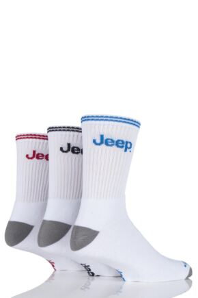Mens 3 Pair Jeep Classic Cotton Sports Socks White 6-11 Mens