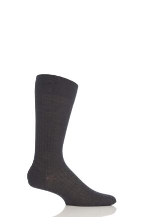 Mens 1 Pair Pantherella Merino Wool Rib Socks Charcoal 10-12
