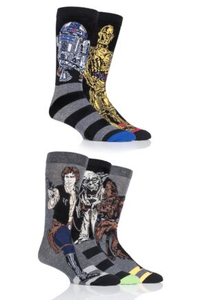 Mens 5 Pair SockShop Disney Star Wars Heroes Yoda, Chewbacca, C-3P0, R2-D2 and Han Solo Socks Assorted 6-11 Mens