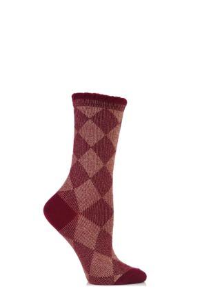Ladies 1 Pair Burlington Lurex Argyle Cotton Socks 50% OFF