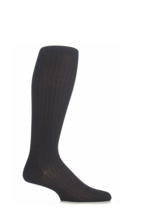 Mens 1 Pair Pantherella Merino Wool Rib Knee High Socks Black 10-12