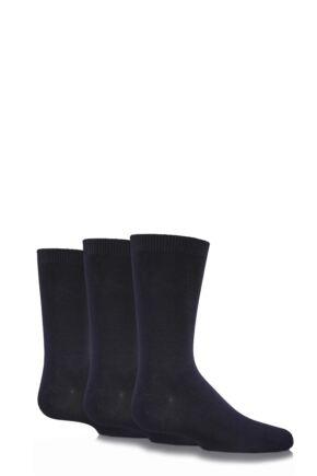 Boys and Girls 3 Pair SockShop Plain Bamboo School Socks with Handlinked Toe Seams In Black Black 12.5-3.5