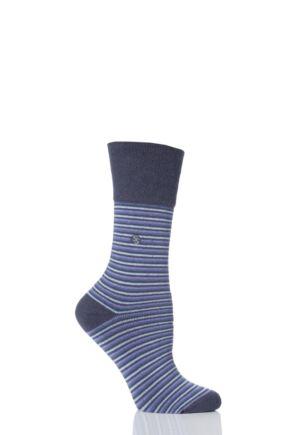 Ladies 1 Pair Gentle Grip Darcy Striped Cushioned Socks