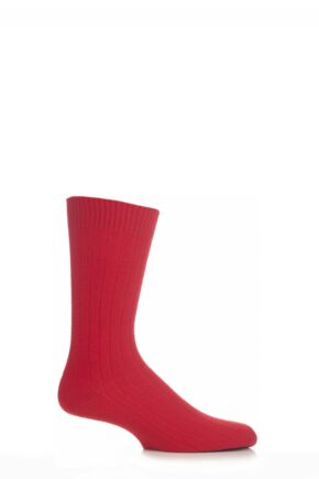 Mens 1 Pair Pantherella 85% Cashmere Rib Socks Red 10-12