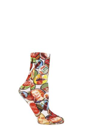 Ladies 1 Pair Coca Cola Bottle Tops Printed Socks