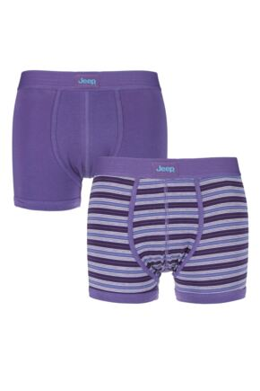 Mens 2 Pack Jeep Hipster Trunks Light Purple / Sky Medium