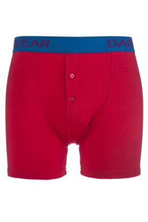 Mens 1 Pack SockShop Dare to Wear Bamboo Button Front Boxer Trunks Pillar Box Red L