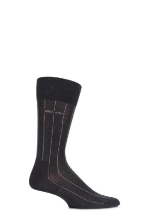 Mens 1 Pair Hugo Boss George 80% Mercerised Cotton Pinstriped Socks