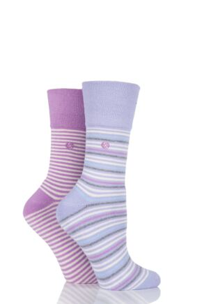 Ladies 2 Pair Gentle Grip Jane Striped Cushioned Socks Lilac