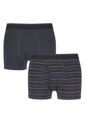 Mens 2 Pack Farah Classic Striped and Plain Boxer Trunks In Charcoal Charcoal/ Grey Small