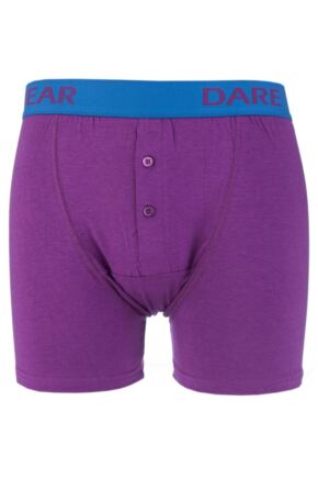 Mens 1 Pack SockShop Dare to Wear Bamboo Button Front Boxer Trunks Elderberry L