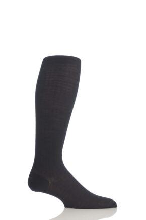 Mens 1 Pair Pantherella Rib Cotton Lisle Knee High Socks Black 7.5-9.5