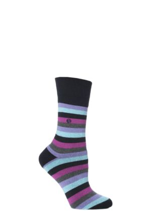 Ladies 1 Pair Gentle Grip Issy Striped Cushioned Socks