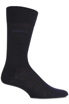 Mens 1 Pair Hugo Boss John Plain Fine Wool and Soft Cotton Comfort Cuff Socks