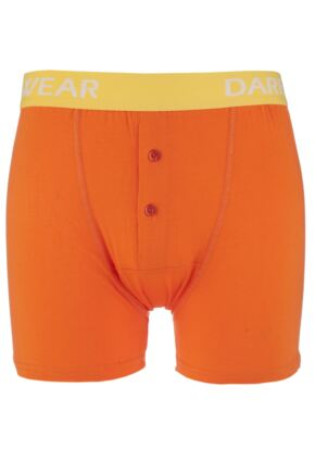 Mens 1 Pack SockShop Dare to Wear Bamboo Button Front Boxer Trunks Vibrant Orange S