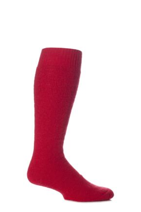 Mens and Ladies 1 Pair SockShop of London Mohair Knee High Socks With Cushioning Red 4-7