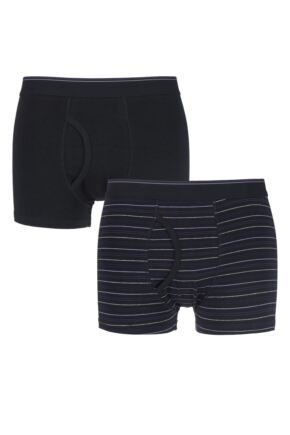 Mens 2 Pack Farah Classic Striped and Plain Boxer Trunks In Black