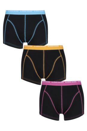 Mens 3 Pack Bjorn Borg Cotton Short Shorts In Caviar 25% OFF Caviar Medium