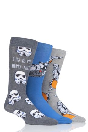 Mens 3 Pair SOCKSHOP StormTrooper Cotton Socks