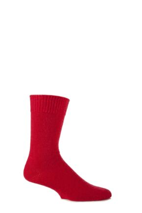 Mens and Ladies 1 Pair SockShop of London Mohair Boot Socks With Cushioning Red 8-10