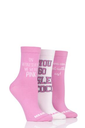 Ladies 3 Pair SOCKSHOP Mean Girls Cotton Socks Pink 4-8 Ladies