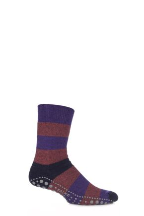 Mens 1 Pair Falke Striped Seasonal Homepad Socks Deep Purple 39-42
