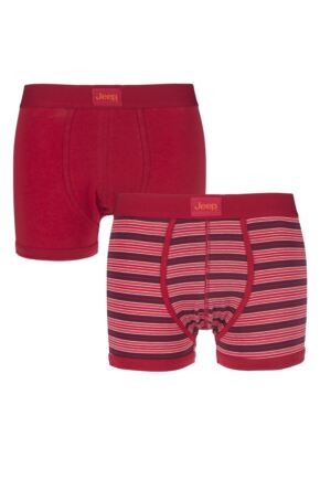 Mens 2 Pack Jeep Hipster Trunks Red / Orange Small