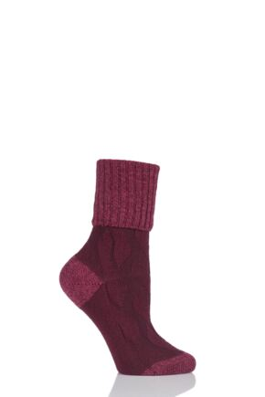 Ladies 1 Pair Pantherella Chloe Textured Wool and Cashmere Turn Over Top Socks