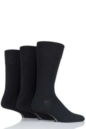 Mens 3 Pair Glenmuir Plain Comfort Cuff Socks Black 7-11 Mens