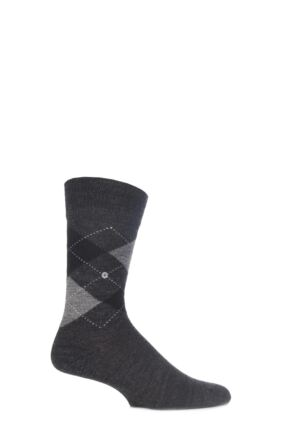 Mens 1 Pair Burlington Dundee Wool Argyle Socks Charcoal / Grey / Black 40-46