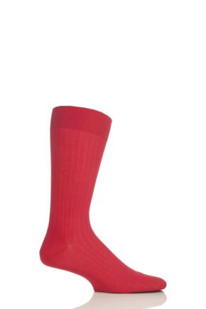 Mens 1 Pair Pantherella Merino Wool Rib Socks Indies Red 7.5-9.5