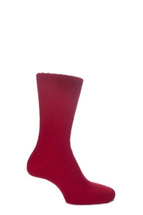 Mens and Ladies 1 Pair SockShop of London Comfort Cuff Ribbed Alpaca True Socks Red 4-7