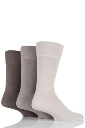 Mens 3 Pair Glenmuir Plain Comfort Cuff Socks Beige 7-11 Mens