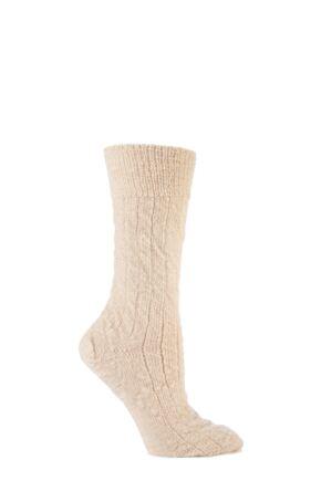 Mens and Ladies 1 Pair SockShop of London Mohair Bed Socks In Ecru