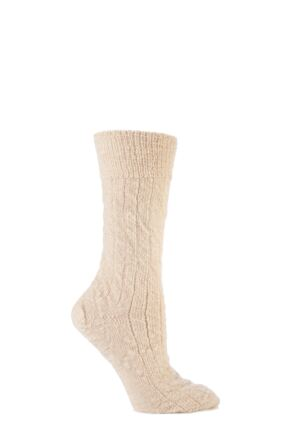 Mens and Ladies 1 Pair SockShop of London Mohair Bed Socks In Ecru Ecru 8-10
